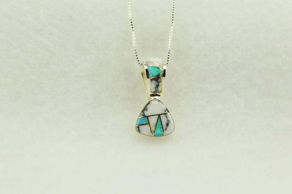 """Sterling silver howlite and blue opal inlay pick shaped pendant with sterling silver 18"""" box chain. N280"""