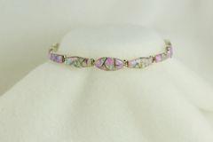 "Sterling silver pink opal inlay 8"" link bracelet. B022"