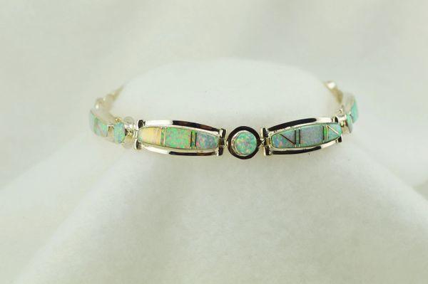 "Sterling silver white opal inlay link 8.25"" bracelet. B090"