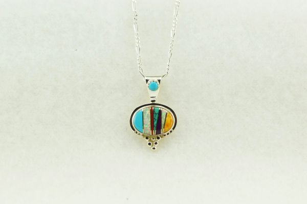 """Sterling silver multi color inlay oval pendant with sterling silver 18""""figaro chain. N142"""