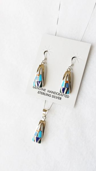 "Sterling silver multi color inlay (vertical) triangle dangle earrings and 18"" sterling silver box chain necklace set. S122"