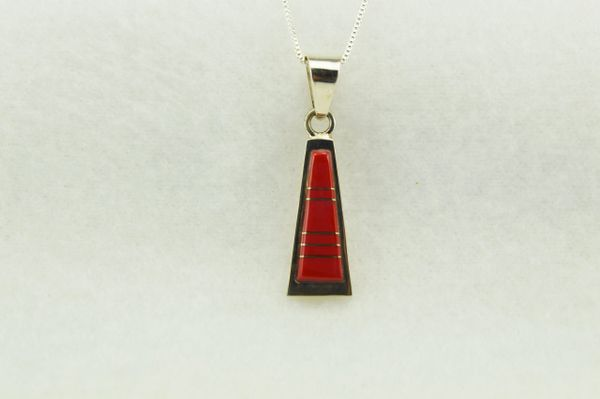 """Sterling silver coral tall triangle pendant with sterling silver 18"""" box chain. N265"""