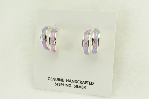 Sterling silver pink opal inlay double hoop post earrings. E359