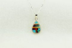 """Sterling silver multi color inlay teardrop pendant with sterling silver 18"""" figaro chain. N145"""
