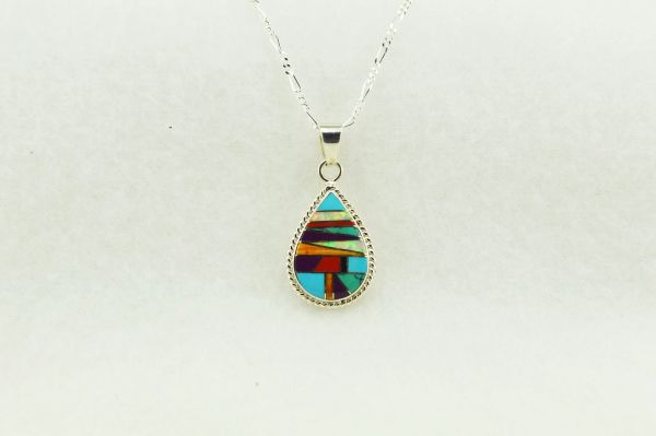 "Sterling silver multi color inlay teardrop pendant with sterling silver 18"" figaro chain. N145"