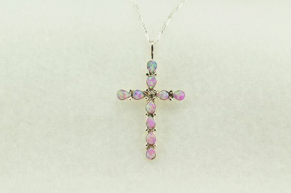 "Sterling silver pink opal cross pendant with sterling silver 18"" figaro chain. N191"
