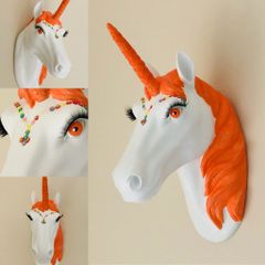 Coral Sparkle Unicorn Head Mount