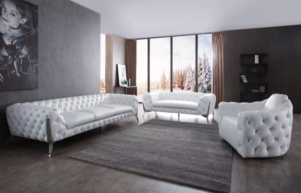 3 Pcs Catania Transitional White Upholstered Stainless Steel Sofa Set Mmidsxig73831