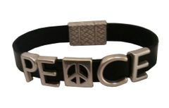 PEACE with Peace sign all leather Bracelet