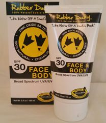 Rubber Ducky SPF 30 Face and Body all-natural Sunscreen 3.3 oz. Tube