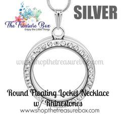 Round Floating Locket Necklace w/ Rhinestones