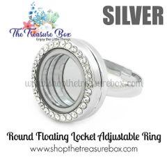 Round Floating Locket Adjustable Ring