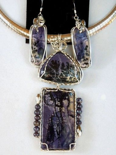 8af89114f Tiffany Stone from Utah Jewelry Pendant Set   Wire Wrap Stone