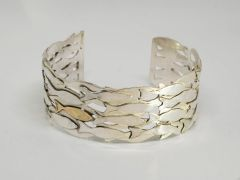 Silver and gold fish shoal cuff bracelet