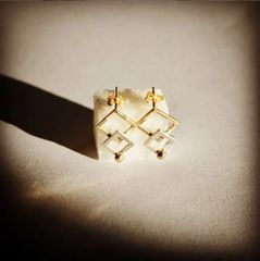 Gold and silver squares and balls earrings