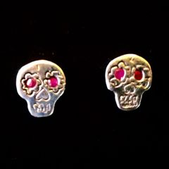 Skull Earings with Ruby Eyes