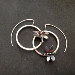 Silver Dragon Fly and Round Hoop Earrings