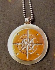 Etched Copper and Silver Compass on a Sterling Chain