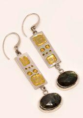 Fine Silver Geometric Earrings w/ Labradorite
