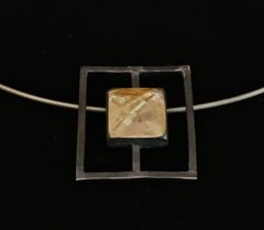 Rutilated Gold Quartz Pendant set in Sterling Silver on cable neck chain