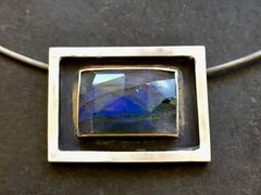 Rose Cut Flashy Blue Labradorite Set in Sterling Silver On Silver Cable