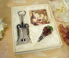 Murano Design Cork Screw,Stopper with 2 Coaster Set Wine Cheese