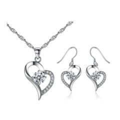 Sterling Silver Heart Pendant Necklace & Earring Set