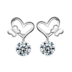 Sterling Silver Heart Butterfly Earrings