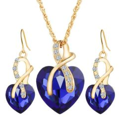 Heart Shaped Crystal Zircon Necklace & Earring Set