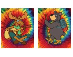 Tye Dye Bear/Moose Fleece Blanket