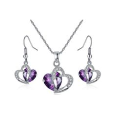 SS Amethyst Crystal Heart Necklace & Earrings
