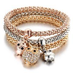 Multilayer Owl Crystal Charm Stretch Bracelet