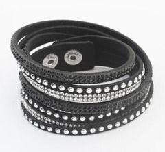 Rhinestone Leather Wrap Bracelet
