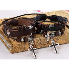 Cross Charm Leather Alloy Bracelet