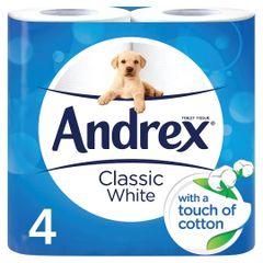 Toilet rolls Andrex. Classic white. x 4 rolls