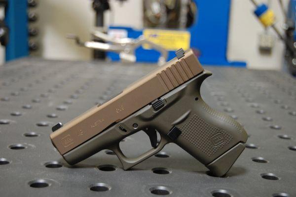 Glock 43 X-Werks Magpul OD & Burnt Bronze with Trijicon Night Sights