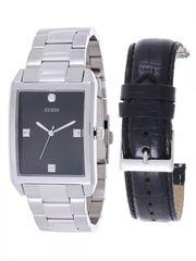 GUESS Men's U0282G1 Silver-Tone Interchangeable Strap Diamond Accented Dress Watch
