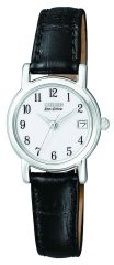 Citizen Eco-Drive Ladies Black Leather White Dial Watch Model EW1270-06A