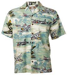 Men's Hawaiian Shirt WWII Aircraft Sea Foam