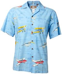 General Aviation Hawaiian Shirt - Sky Blue and Navy Blue