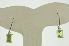 Natural Peridot 0.925 Sterling Silver Leverback Earrings