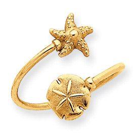 Sand Dollar & Starfish Toe Ring (JC-801)