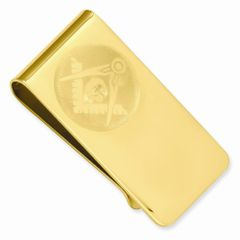 Gold-plated Masonic Money Clip - Engravable Personalized Gift Item