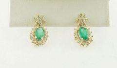 Big Oval Emerald & Diamond Frame Earrings in 10K Yellow Gold
