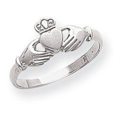 Ladies Polished & Satin Claddagh Ring (JC-048)