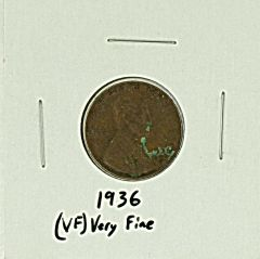 1936 United States Lincoln Wheat Penny Rating (VF) Very Fine