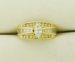 14k Yellow Gold Lady 1.6ctw Marquise Diamond Engagement Ring
