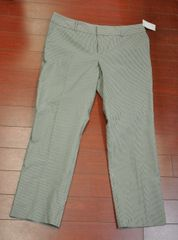 Women's Norma Kamali Career Cropped Pants Black Straw Stripe Size 10