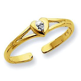 Genuine Diamond In Heart Toe Ring (JC-799)