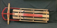 Wooden Snow Sport Torpedo Fast Trak Sled Made in Canada Winter Cabin Decor